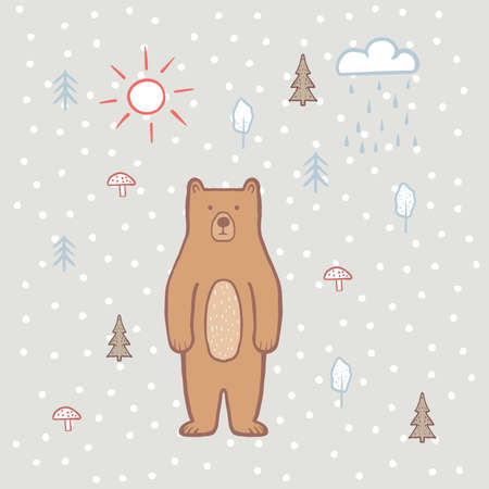Cute bear in the forest with sun and rain. Color illustration for children, for kids. Vector, hand draw, bear cartoon character. Baby pattern. Children's print on fabric, textiles, packaging
