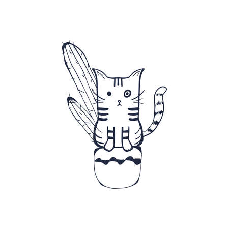 Cute cat in a flower pot. Cartoon character cat. Hand drawn outline illustration, coloring page, monochrome. Vector doodle sketch for children, kids. Childrens drawings for packaging, textiles, fabric