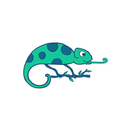 Chameleon isolated on white background. Cute cartoon character green chameleon. Hand drawn illustration. Vector doodle sketch for children, kids, baby. Children's picture for packaging, textiles fabric