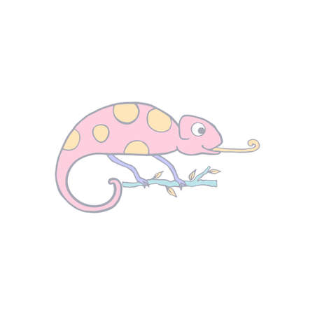 Chameleon isolated on white background. Cute cartoon character color chameleon. Hand drawn illustration. Vector doodle sketch for children, kids, baby. Childrens picture for packaging, textiles fabric Illustration