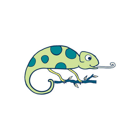 Chameleon isolated on white background. Cute cartoon character green chameleon. Hand drawn illustration. Vector doodle sketch for children, kids, baby. Childrens picture for packaging, textiles fabric
