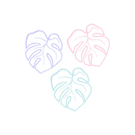Exotic plant leaves isolate on white background, tropical floral leaves hand draw shape. Cartoon monstera leaves outline vector soft color illustration. Art line three leaf monstera design elements Illustration