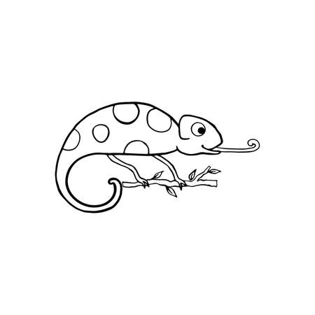 Chameleon isolated on white. Cartoon character. Hand drawn outline illustration, coloring page, monochrome. Vector doodle sketch for kids, baby. Childrens drawings for packaging, textiles, fabric