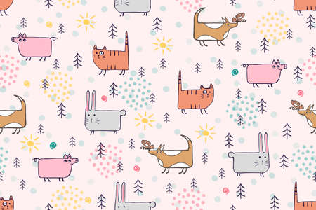 Cute animals seamless pattern. Hand drawn dog, cat, bunny, pig cartoon character childrens illustration. Different pets in forest scandinavian vector pattern for kids, baby, textile, fabric, packaging
