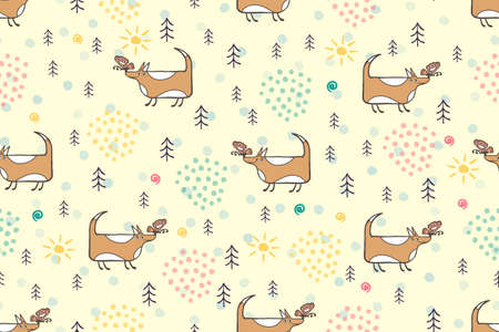 Cute dog seamless pattern. Hand drawn dog cartoon character childrens illustration. Cute brown animals dog, pets in forest scandinavian vector pattern for kids, child, baby, textile, fabric, packaging