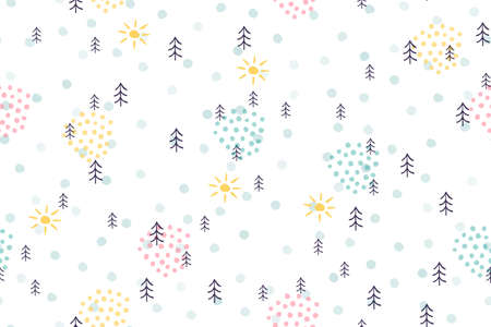 Cute forest natural seamless pattern. Childish simple cartoon background hand drawn trees and sun. Scandinavian vector illustration doodle background for child, kids, baby, textile, fabric, packaging