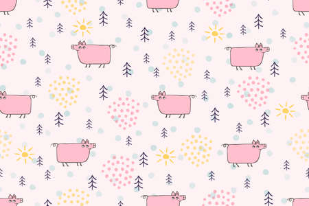 Cute pig seamless pattern. Hand drawn pig cartoon character childrens illustration. Cute pink animals pigs, pets in forest scandinavian vector pattern for kids, baby, textile, fabric, packaging Illustration