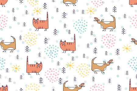 Cute animals seamless pattern. Hand drawn dog, cat cartoon character childrens illustration. Cute cats and dogs pets in forest scandinavian vector pattern for kids, baby, textile, fabric, packaging
