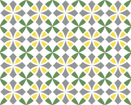 Geometric seamless pattern. Vintage textures. Abstract seamless arabesque vector pattern. Color ornament. Gray, yellow, green trend colors on white background. Simple design fabric, textile, wrapping
