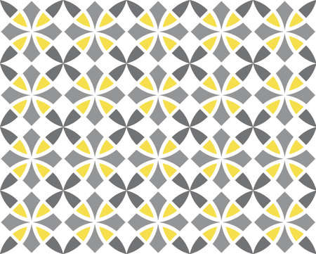 Geometric seamless pattern. Vintage textures. Abstract seamless arabesque vector pattern. Color ornament. Gray, yellow trend colors on white background. Simple design fabric, textile, wrapping