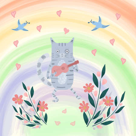 Bright illustration of cat with a guitar, birds, flowers, hearts and rainbow. Cute cartoon drawing. Valentines color hand drawn vector design for children, kids, baby. Spring, summer landscape. Illustration