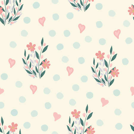 Floral seamless pattern. Seamless spring flower background. Hand drawn design, vector illustration. Delicate flowers with pink hearts and blue spots. Design for fabric, textile, wrapping, packaging