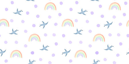 Spring birds and rainbow seamless pattern. Seamless white background with blue birds, rainbow, circles, spots, dots. Hand drawn vector design, simple illustration for kids fabric, textile, wrapping
