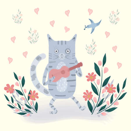 Bright illustration of cat with a guitar, birds, flowers, hearts. Cute cartoon drawing. Happy Valentines color hand drawn vector design for children, kids, baby. Spring, summer landscape greeting card Illustration