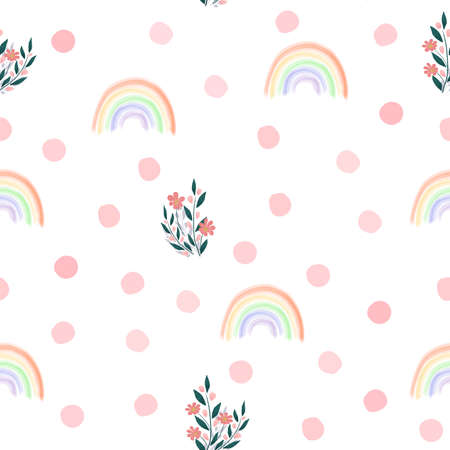 Floral seamless pattern. Seamless spring flower background. Hand drawn design, vector illustration. Delicate flowers with rainbow and pink spots. Cartoon design for kids, baby fabric, textile wrapping Illustration