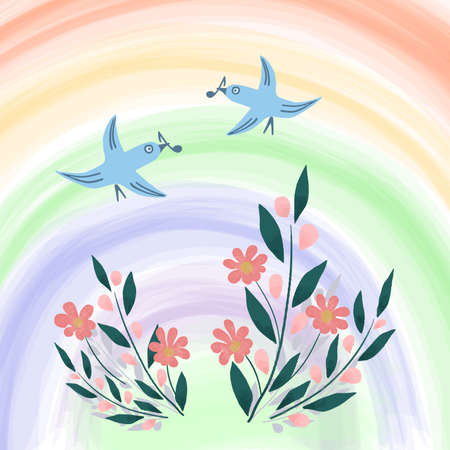 Spring or summer bright illustration of bird, flowers and rainbow. Cute cartoon drawing. Bright color hand drawn vector illustration, design for children, kids, baby fabric. Children's illustration