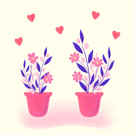 Home flowers, plants in a pot. Bright spring or summer floral romantic illustration in pink and purple colors. Vector cartoon hand drawn design of delicate flowers and hearts for greeting card, banner Illustration