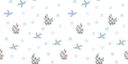 Spring birds and flowers seamless pattern. Seamless simple floral background with blue birds, spots, flowers. Hand drawn vector design, simple illustration for fabric, textile, wrapping, packaging