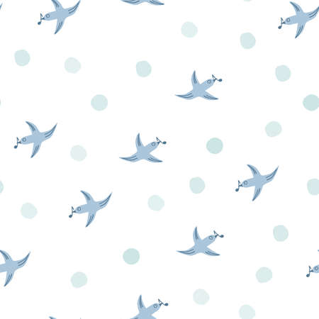 Spring bird seamless pattern with musical notes. Seamless white background with blue birds, circles, spots, dots. Hand drawn vector design, simple illustration for fabric, textile, wrapping, packaging