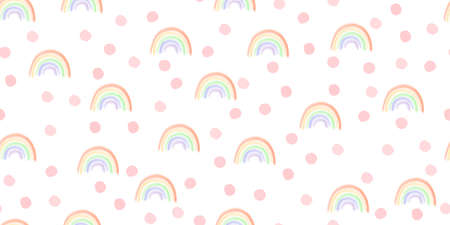 Rainbow and random hand drawn spots seamless pattern. Cute spring, summer seamless vector background with pink dots and rainbow. Childrens cartoon style. Design for child, kids, baby, fabric, textile