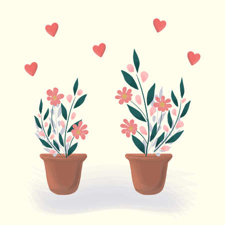 Home flowers, plants in a pot. Calm spring or summer floral romantic illustration, home atmosphere. Vector cartoon hand drawn design of delicate flowers and hearts for greeting card, banner