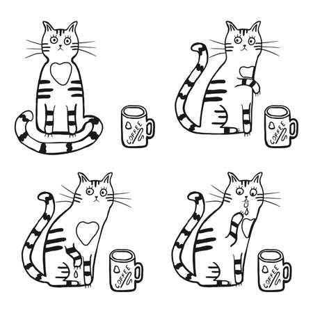 Cute cat with a cup of coffee. Vector cartoon character, comic four cat tries coffee with paw. Hand drawn illustration for children, kids, baby. Design for fabric, textile, wrapping. Coloring page