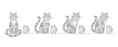 Cute cat with a cup of coffee. Vector cartoon character, comic four cat tries coffee with paw. Hand drawn illustration for children, kids, baby. Design for fabric, textile, wrapping. Soft gray colors 일러스트