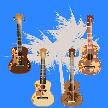 Vector set of hawaiian guitars. Traditional and electric ukulele, string plucked musical instruments isolated in flat style. Фото со стока - 77222177