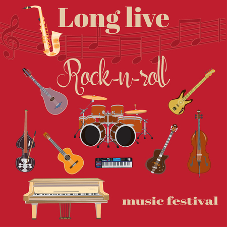 piano roll: Vector set of rock and roll music instruments. Long live Rock and roll template. Grand piano, drum kit, guitar, bass guitar, sax, double bass, treble clef in flat style