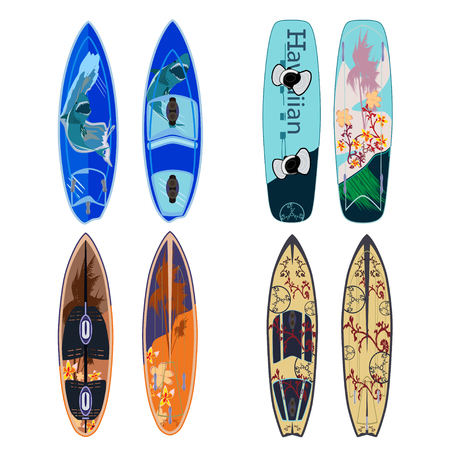 Vector set of surfing boards and wakeboard isolated on white background. Two sides of surfboards in flat style.