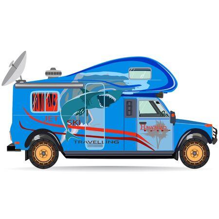 Vector illustration of travel car in flat style Illustration
