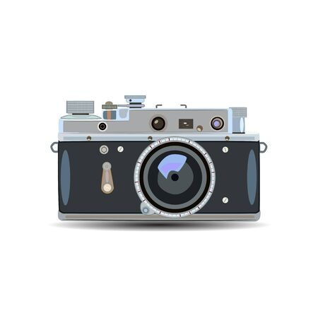 old items: Vector illustration of retro camera in a flat style