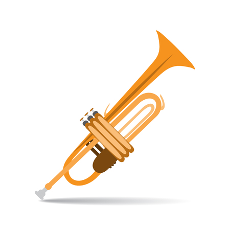 Vector illustration of trumpet in flat style