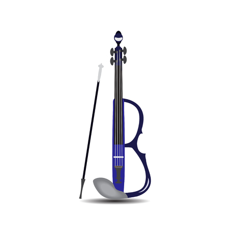 Electric violin with bow, Vector illustration