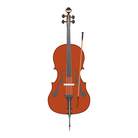 Vector illustration of cello in flat style Illustration