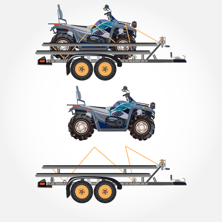 Vector illustration of quad bike and trailer in flat design