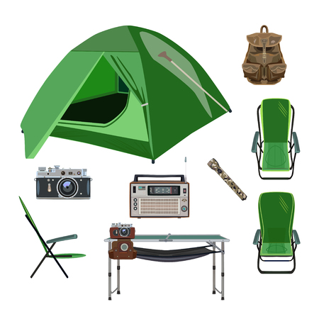 Vector set of camping equipment icons in flat style Illustration