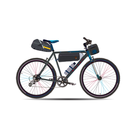 Vector illustration of touring bike with saddlebag, Frame bag and handlebar bag. Road racing bicycle with bikepacking gear. Flat style design.