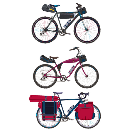 Vector set of touring bikes with saddlebag, frame bag, handlebar bag and tent. Road racing bicycles with bikepacking gear. Flat style design. Ilustração