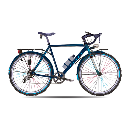 hiking: Vector illustration of touring bike. Road racing bicycle flat style design element isolated on white background.