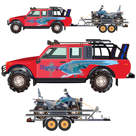 Illustration of quad bike, travel car and trailer isolated on white background. Flat style design.