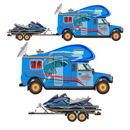 Vector illustration of water scooter, camper car and trailer isolated on white background. Flat style design.