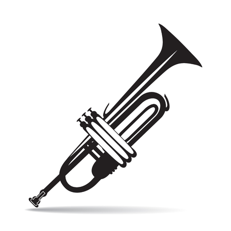 Vector illustration of black and white trumpet in flat style Illustration