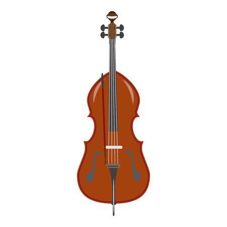 Vector illustration of double bass in flat style Иллюстрация