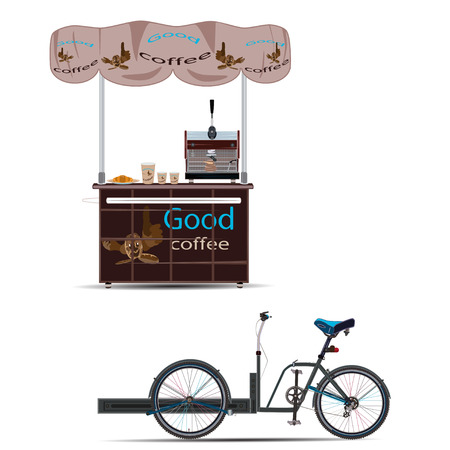 Vector Illustration Of Tricycles Coffee Bike And Sales Stand