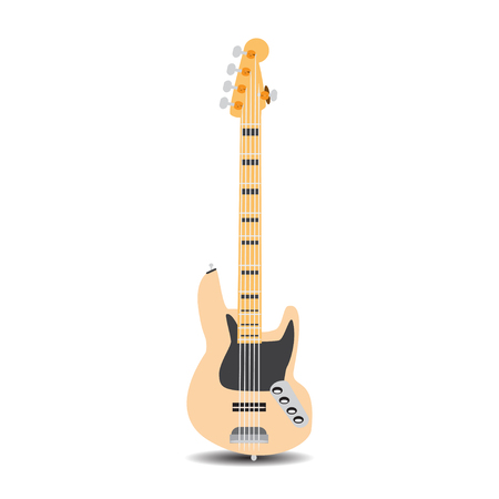 Vector illustration of electric bass guitar isolated on a white background in flat style. Illustration