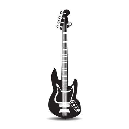 Black and white electric guitar. Vector illustration of bass guitar isolated on a white background in flat style. Illustration