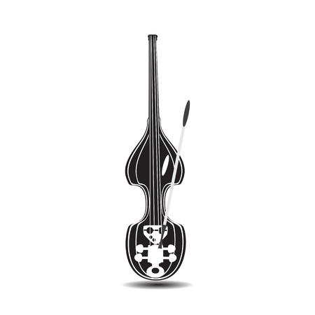 Black and white electric double bass. Vector illustration of contrabass isolated on white background. Flat style design. Illustration