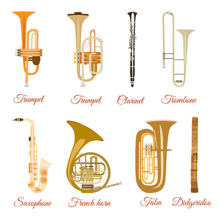 Vector set of wind musical instruments. Saxophone, clarinet, trumpet, trombone, tuba, french horn and didgeridoo.