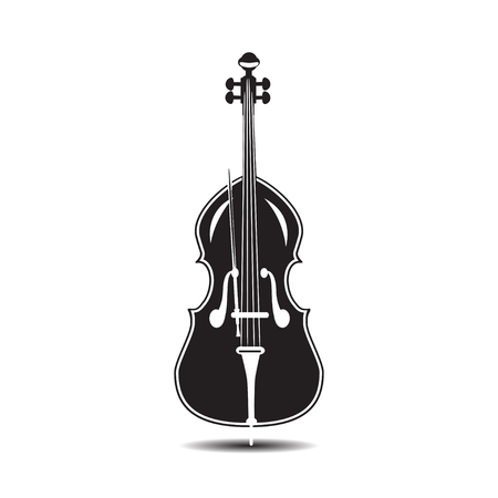 Vector illustration of double bass isolated on a white background. Black and white contrabass in flat style. Illustration